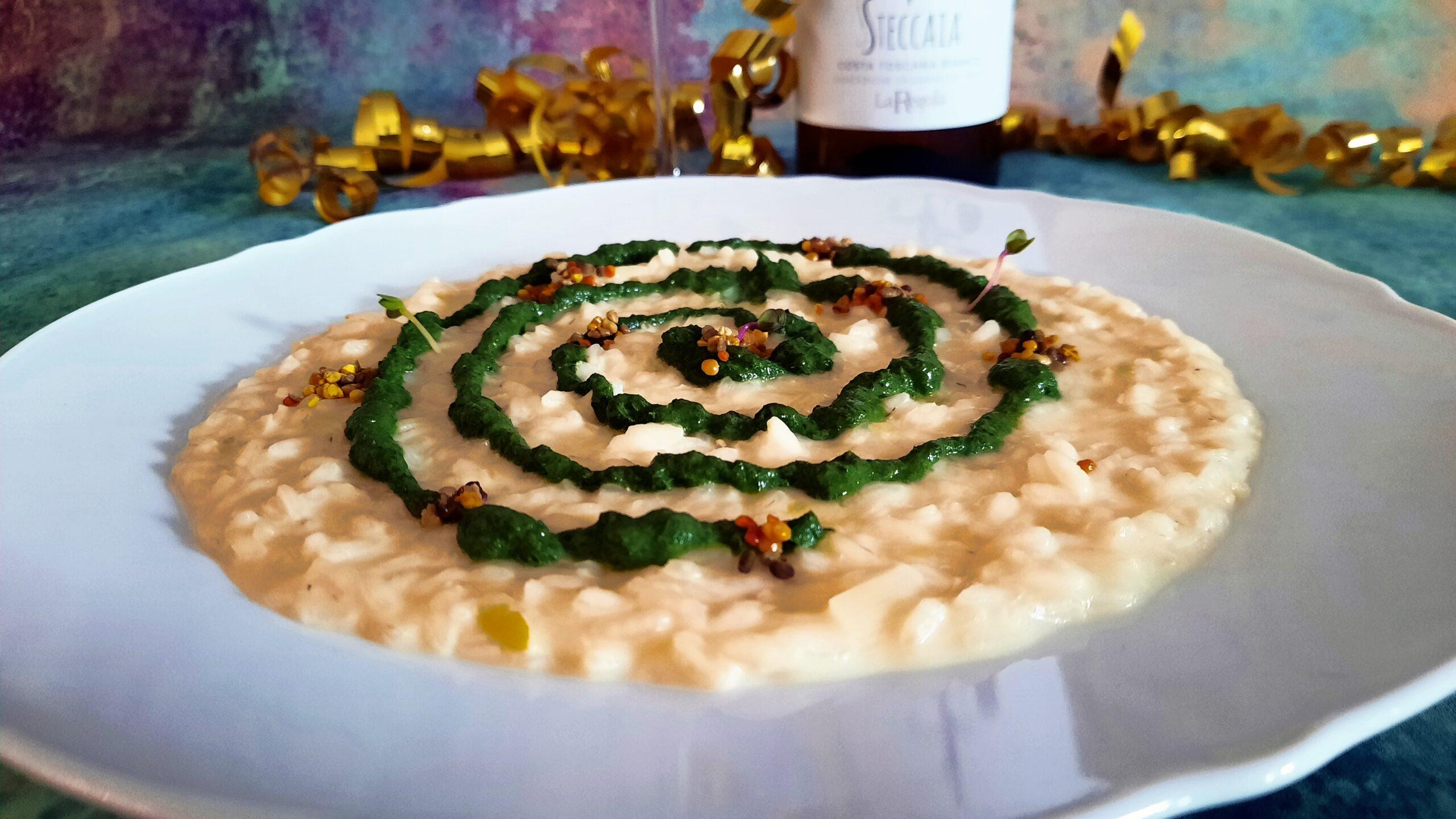 Carnaroli impollinato riso con fontina, spinacino e polline