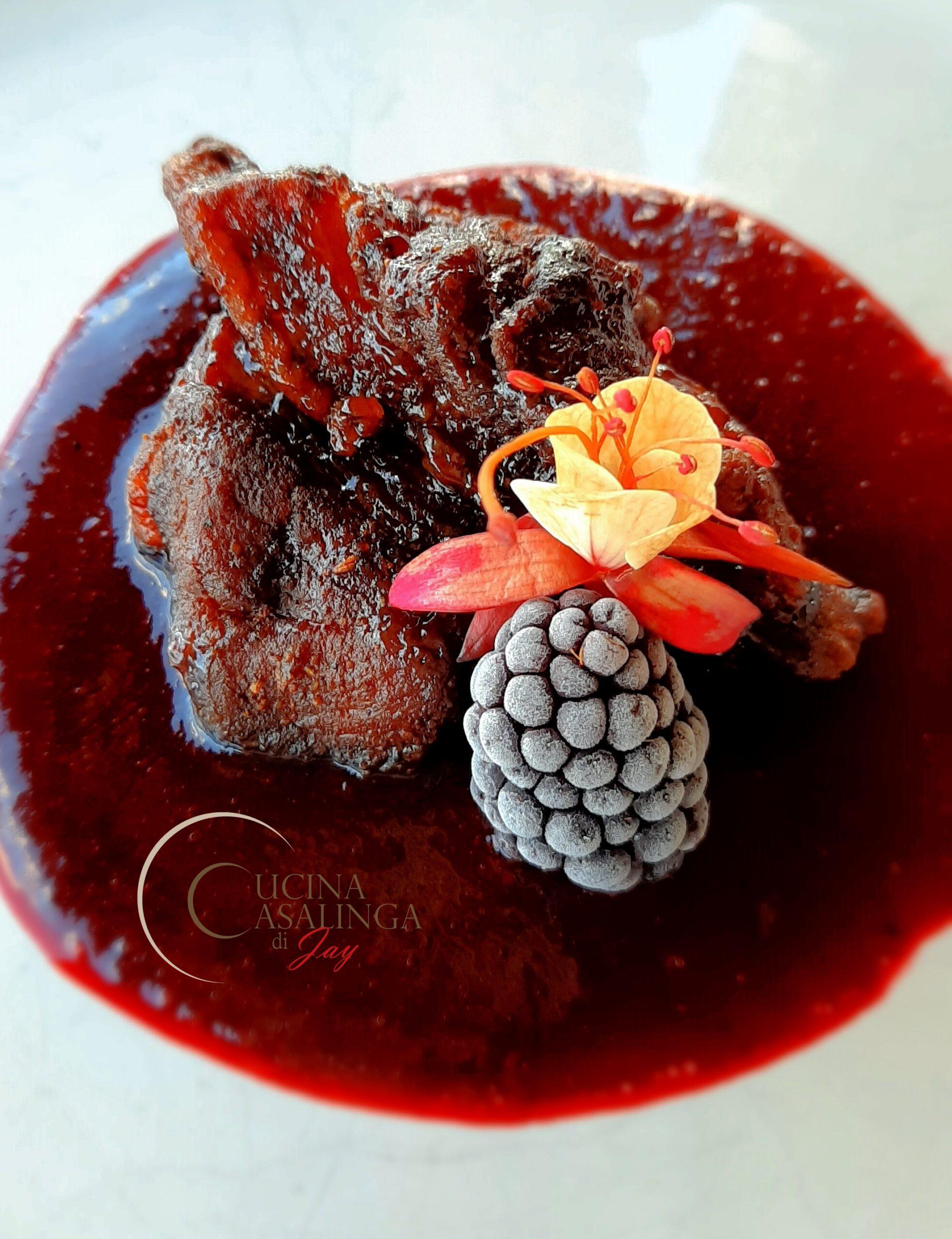Menù di San Valentino - Bocconcini di pancetta glassati, con salsa alle more